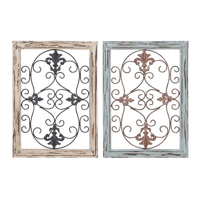 Wood Metal Wall Panel with Intricate (Set of 2)