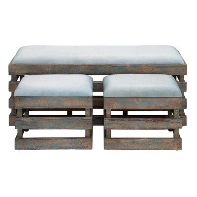 Woodland Imports Wood Leather Stool (Set of 3)