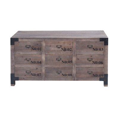 Woodland Imports Wood r Cabinet with 9 Drawers