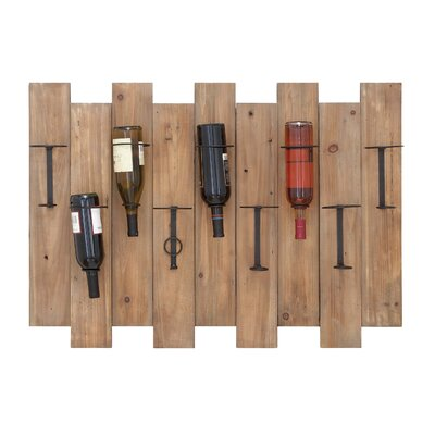 Woodland Imports 9 Bottle Wall Mount Wine Rack