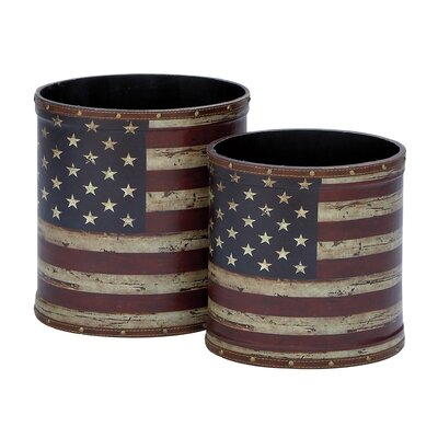 2 Piece Canvas Trash Can Set