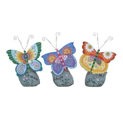 Woodland Imports Casual Looking Beautiful Butterfly Décor (Set of 3)