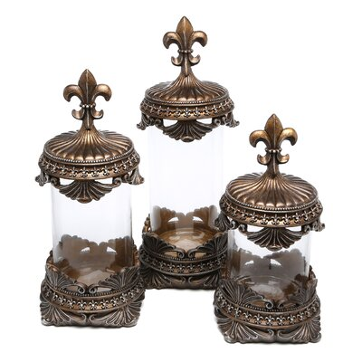 Woodland Imports Polystone 3 Piece Decorative Canister Set