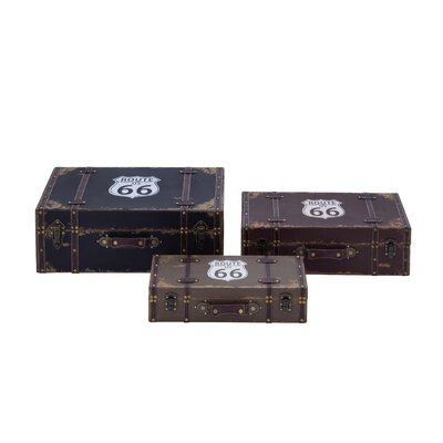 3 Piece American Themed Route 66 Wooden Vinyl Boxes Set