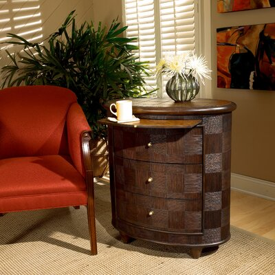 Designer's Edge Rattan Oval 3 Drawer End Table