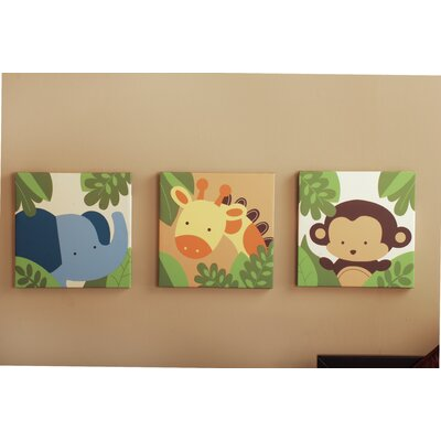 Jungle 123 3 Piece Canvas Wall Art
