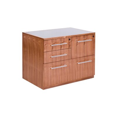 Radius Office Combo File Cabinet with Grey Glass Top