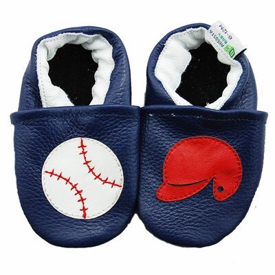Baseball and Helmet Soft Sole Leather Baby Shoes