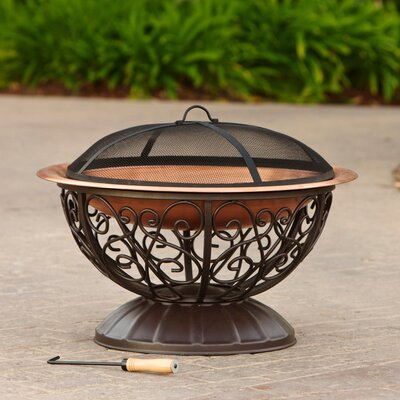 Copper Fire Bowl with Cover