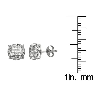 A Jewelers 14k White Gold 1/2ct TDW Diamond Composite Stud Earrings