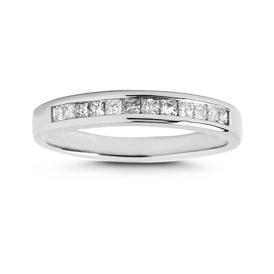 A Jewelers 14k White Gold 1/3 Carat TDW Princess Cut Channel Set  Wedding Ring