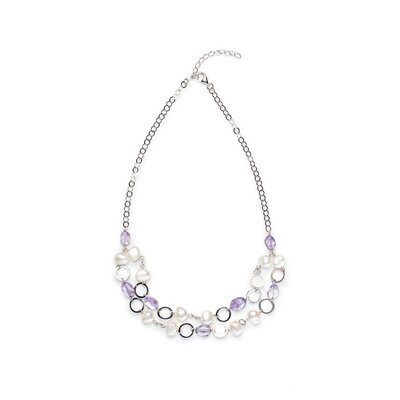Sterling Silver Lavender Fields Cultured Pearl Necklace