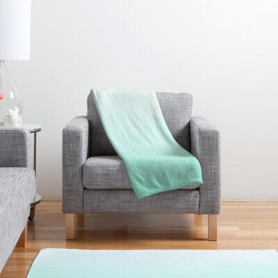 DENY Designs Social Proper Mint Ombre Polyester Fleece Throw Blanket