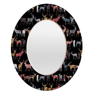 DENY Designs Sharon Turner Charcoal Spice Deer Oval Mirror