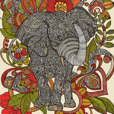 DENY Designs Valentina Ramos Polyester Bo The Elephant Shower Curtain