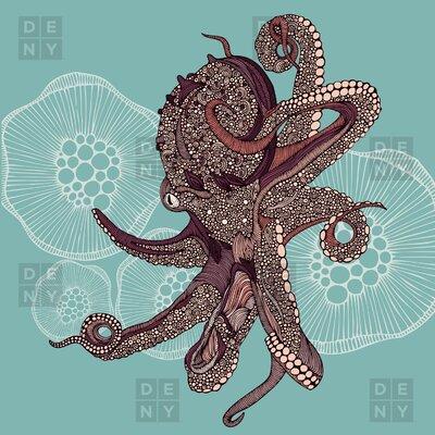 DENY Designs Valentina Ramos Polyester Octopus Bloom Shower Curtain