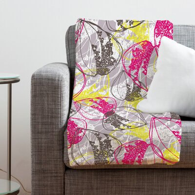 DENY Designs Rachael Taylor Organic Retro Leaves Polyester Fleece Throw Blanket