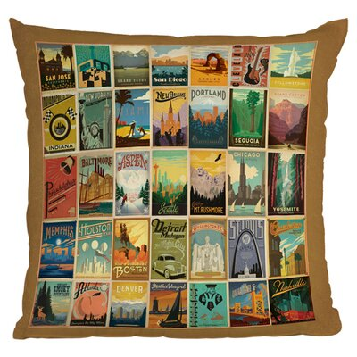 Anderson Design Group City Pattern Border Woven Polyester Throw Pillow
