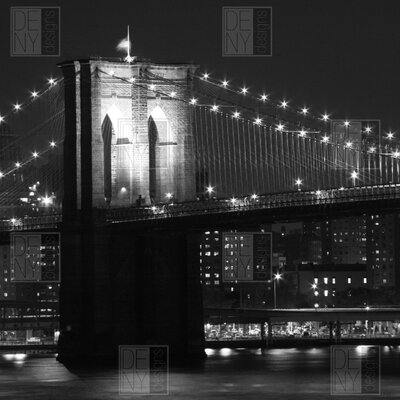 DENY Designs Brooklyn Bridge 125 by Leonidas Oxby Photographic Print on Canvas