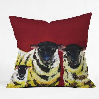 DENY Designs Clara Nilles Lemon Spongecake Sheep Indoor / Outdoor Polyester Throw Pillow