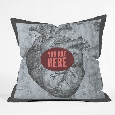 Wesley Bird You Are Here Indoor/Outdoor Polyester Throw Pillow