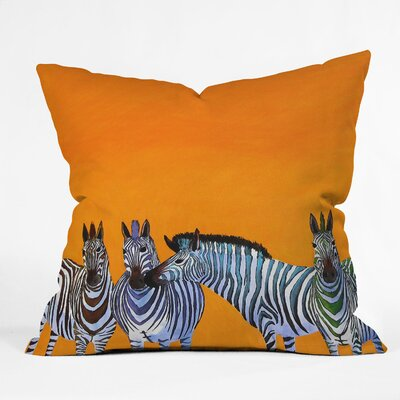 DENY Designs Clara Nilles Candy Stripe Zebras Indoor / Outdoor Polyester Throw Pillow
