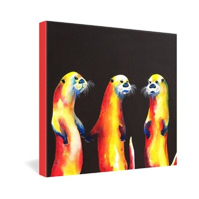 DENY Designs Flaming Otters by Clara Nilles Painting Print on Canvas