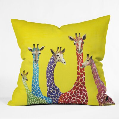 DENY Designs Clara Nilles Jellybean Giraffes Indoor / Outdoor Polyester Throw Pillow