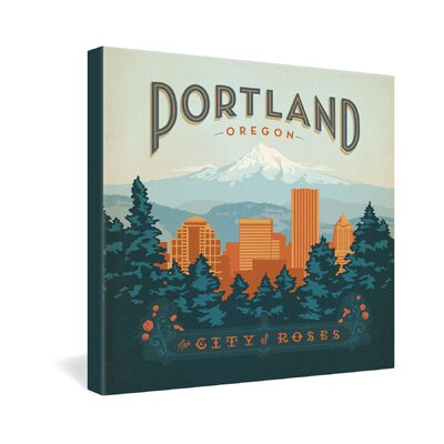 DENY Designs Portland by Anderson Design Group Vintage Advertisement on Canvas