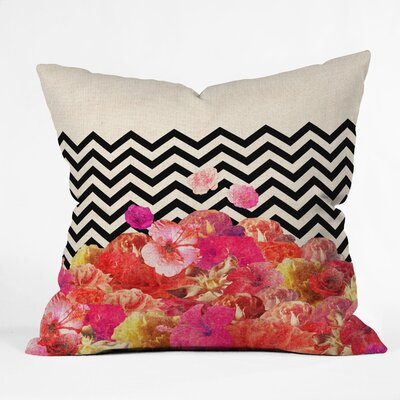 DENY Designs Bianca Green Chevron Flora 2 Polyester Throw Pillow