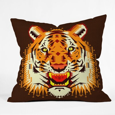 DENY Designs Chobopop Geometric Tiger Polyester Throw Pillow