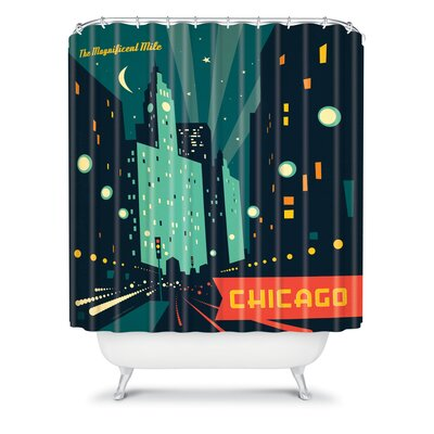 DENY Designs Anderson Design Group Woven Polyester Chicago Mag Mile Shower Curtain