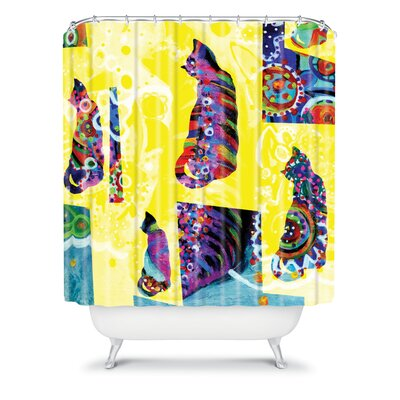 DENY Designs Randi Antonsen Polyester Cats 1 Shower Curtain