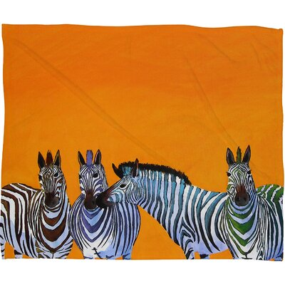 DENY Designs Clara Nilles Candy Stripe Zebras Polyester Fleece Throw Blanket