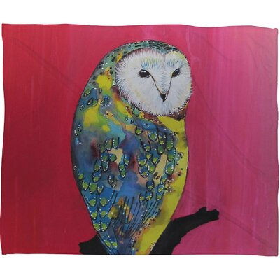 DENY Designs Clara Nilles Owl On Lipstick Polyester Fleece Throw Blanket