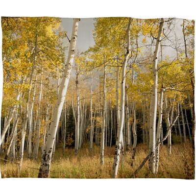 DENY Designs Bird Wanna Whistle Golden Aspen Polyester Fleece Throw Blanket