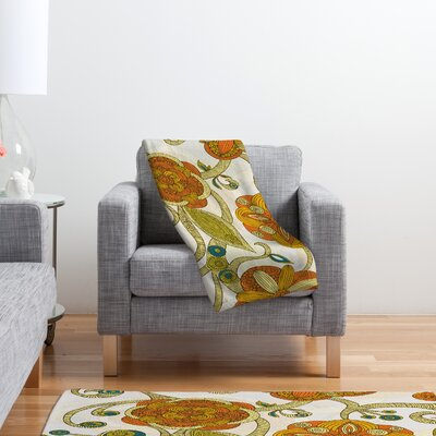 DENY Designs Valentina Ramos Orange Flowers Polyester Fleece Throw Blanket