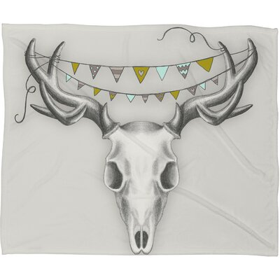 DENY Designs Wesley Bird Skull Polyester Fleece Throw Blanket