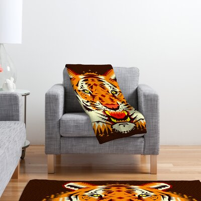 DENY Designs Chobopop Geometric Tiger Polyester Fleece Throw Blanket