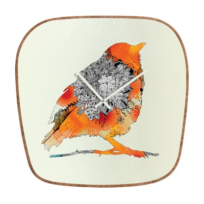 DENY Designs Iveta Abolina Orange Bird Clock