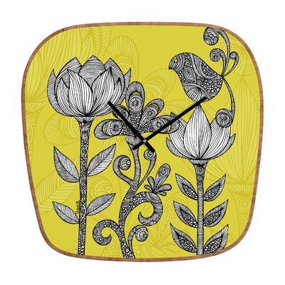 DENY Designs Valentina Ramos Orange Flowers Wall Clock