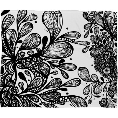 Julia Da Rocha Wild Leaves Polyesterrr Fleece Throw Blanket