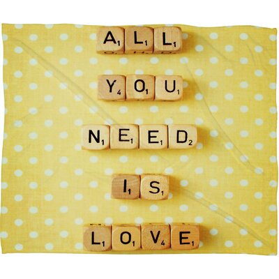 DENY Designs Happee Monkee All You Need Is Love 1 Polyesterrr Fleece Throw Blanket