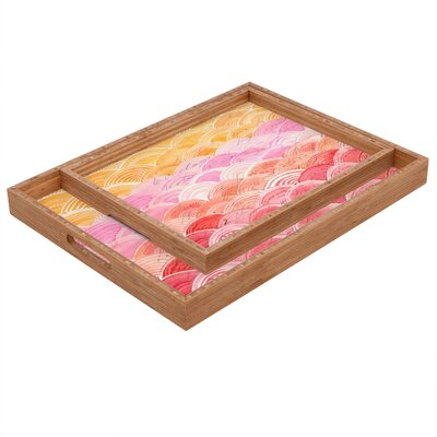 DENY Designs Cori Dantini Warm Spectrum Rainbow Rectangular Tray