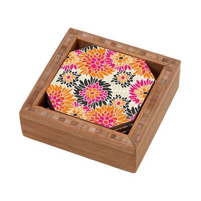 DENY Designs Andrea Victoria Summer Tango Floral Coaster (Set of 4)