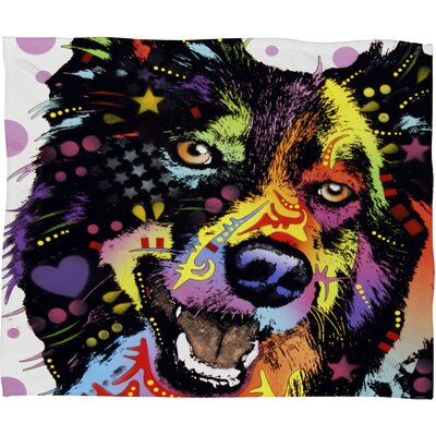 DENY Designs Dean Russo Border Collie Polyesterrr Fleece Throw Blanket