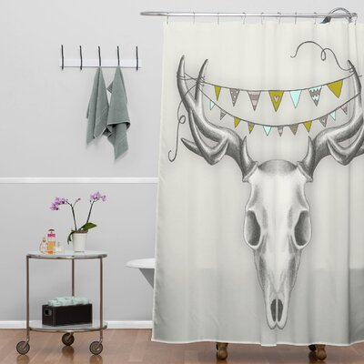 DENY Designs Wesley Bird Polyester Skull Shower Curtain