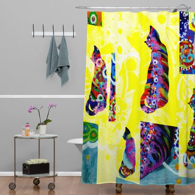 DENY Designs Randi Antonsen Polyester Cats 1 Shower Curtain