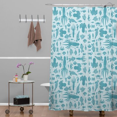 Jennifer Denty Woven Polyester Sea Creatures Shower Curtain Wayfair