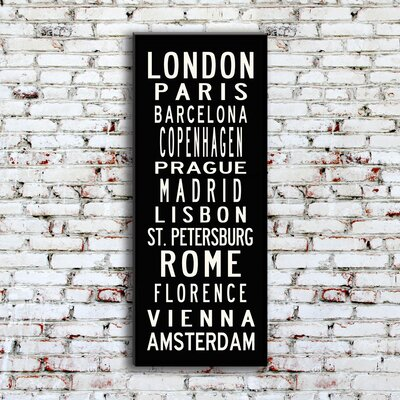 Uptown Artworks European Cities Textual Art on Canvas